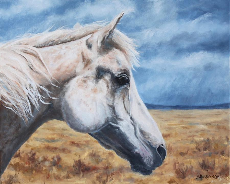 Horse Painting - The Wise Old Man by Debra Mickelson