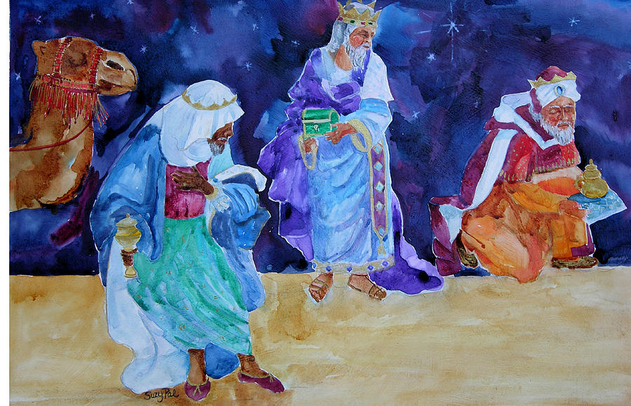 Jesus Birth Painting - The Wisemen by Suzy Pal Powell