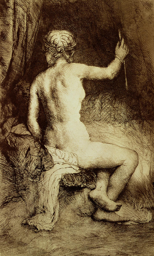 Female; Nude; Bed; Seated; Diana; Huntress; Print Drawing - The Woman With The Arrow by Rembrandt Harmensz van Rijn