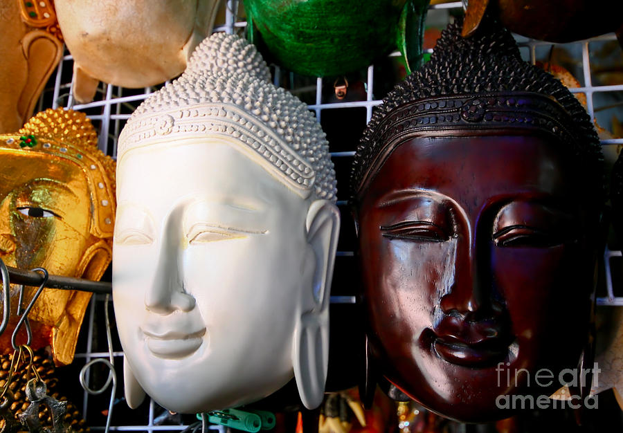 Ancient Relief - The Wooden Mask Of Buddha by Phalakon Jaisangat