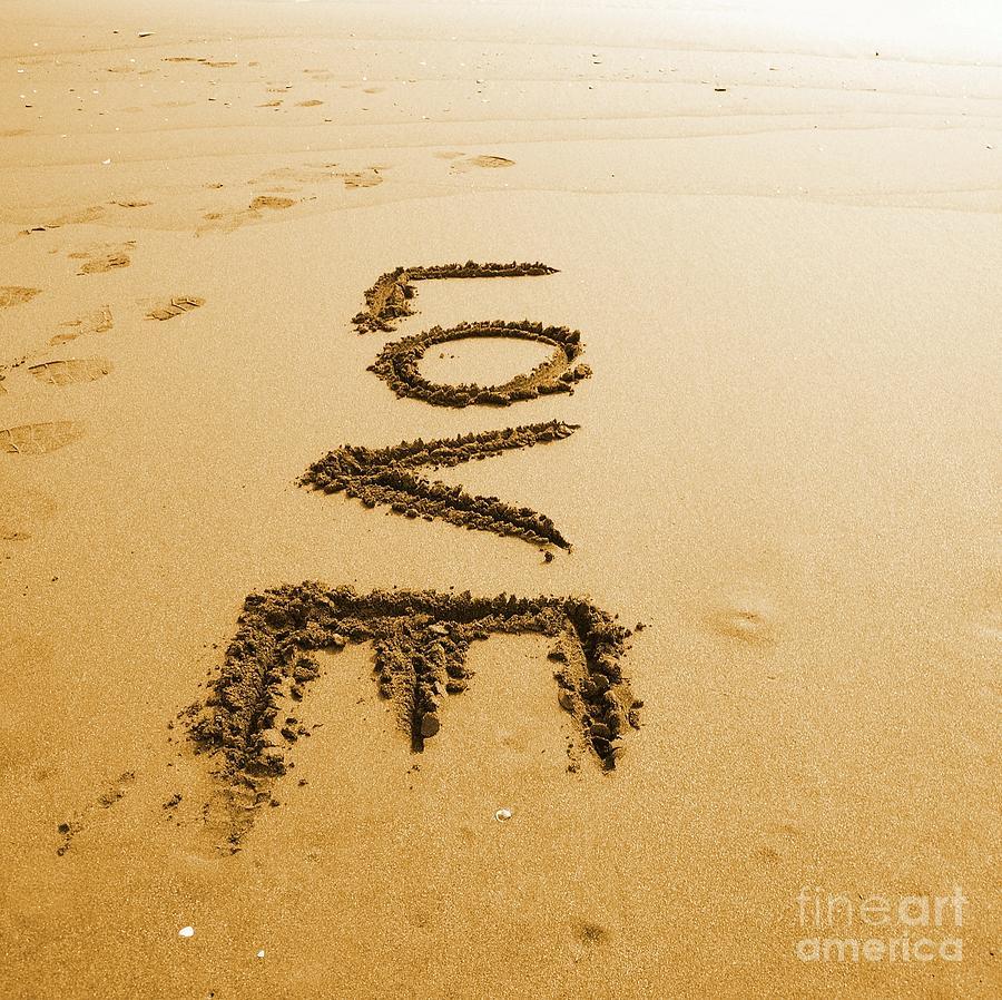 The Word Love Written In Sand Photograph by Yali Shi