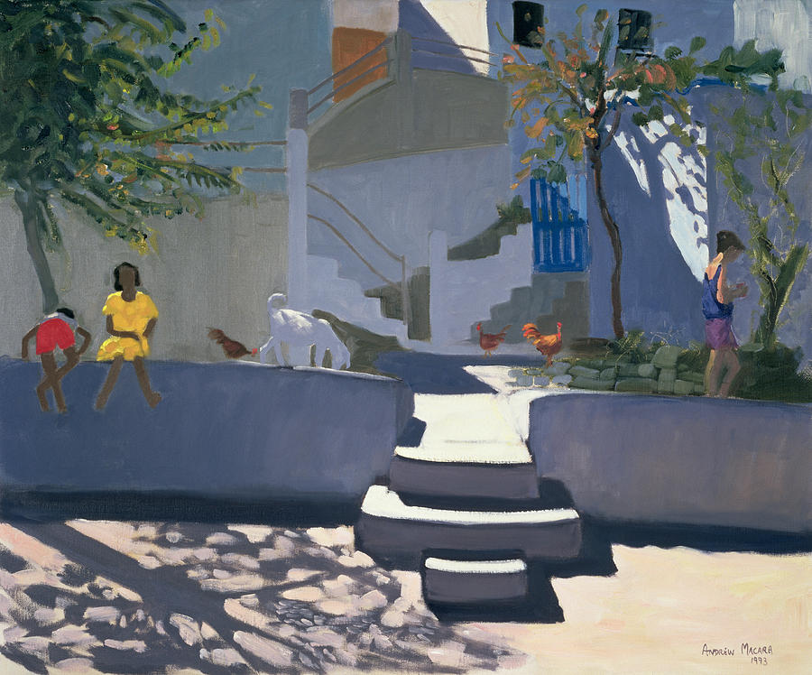 Village Painting - The Yellow Dress by Andrew Macara