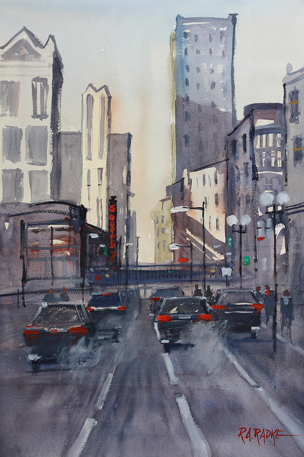 Chicago Painting - Theatre District - Chicago by Ryan Radke