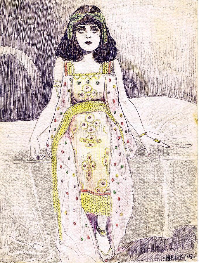 Theda Bara 2 Drawing By Mel Thompson