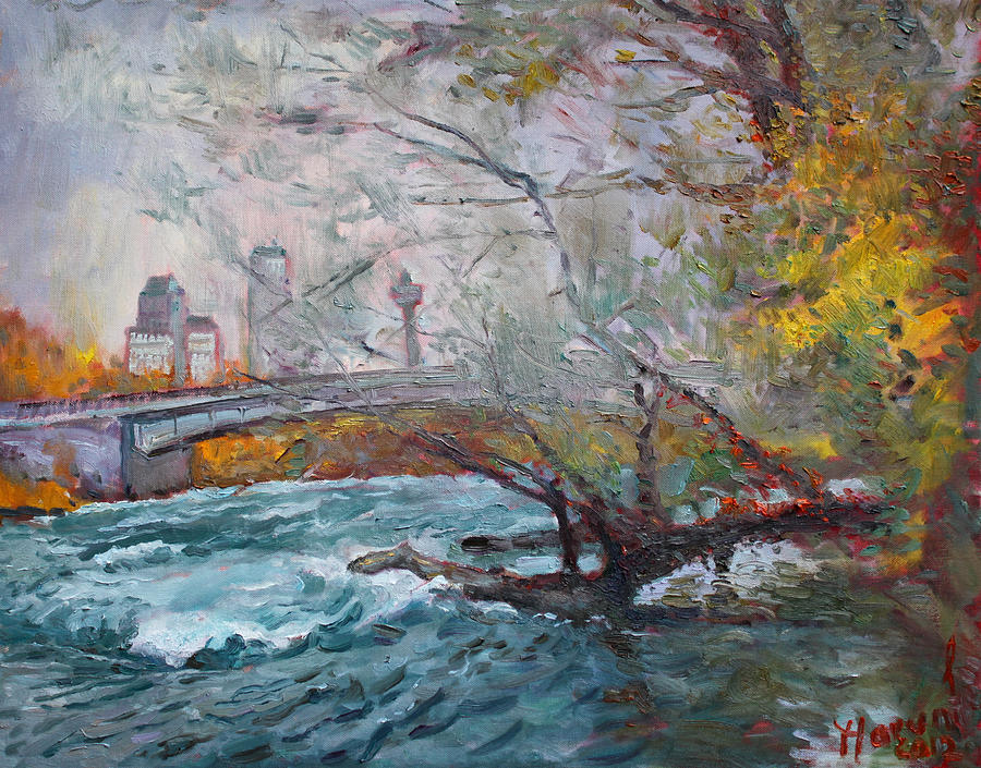 Niagara Falls River Painting - ....then The Rain Started by Ylli Haruni