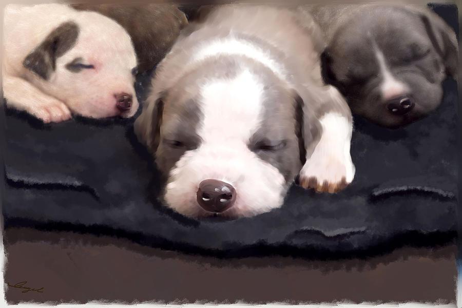 Bulldog Puppies Acrylic Prints Painting - They Call It Puppy Love by Angel Pachkowski