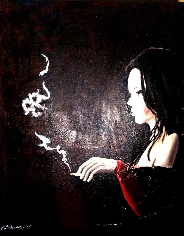 thinker smoking painting by jenny saltzman