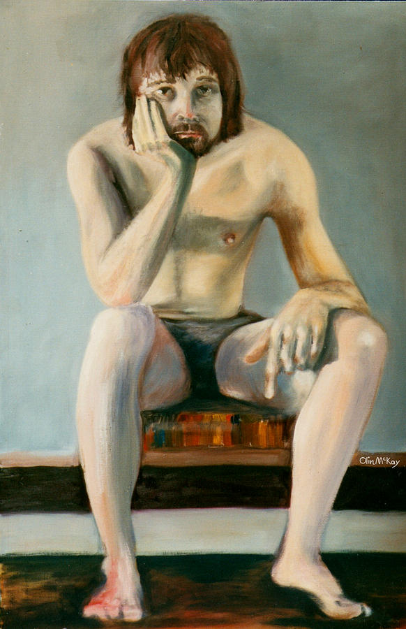 Oil Painting Drawing - Thinking Guy by Olin  McKay