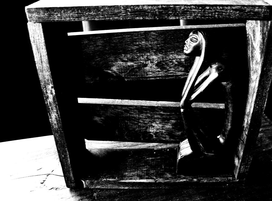 Black And White Photograph - Thinking Inside The Box by Sally Bauer