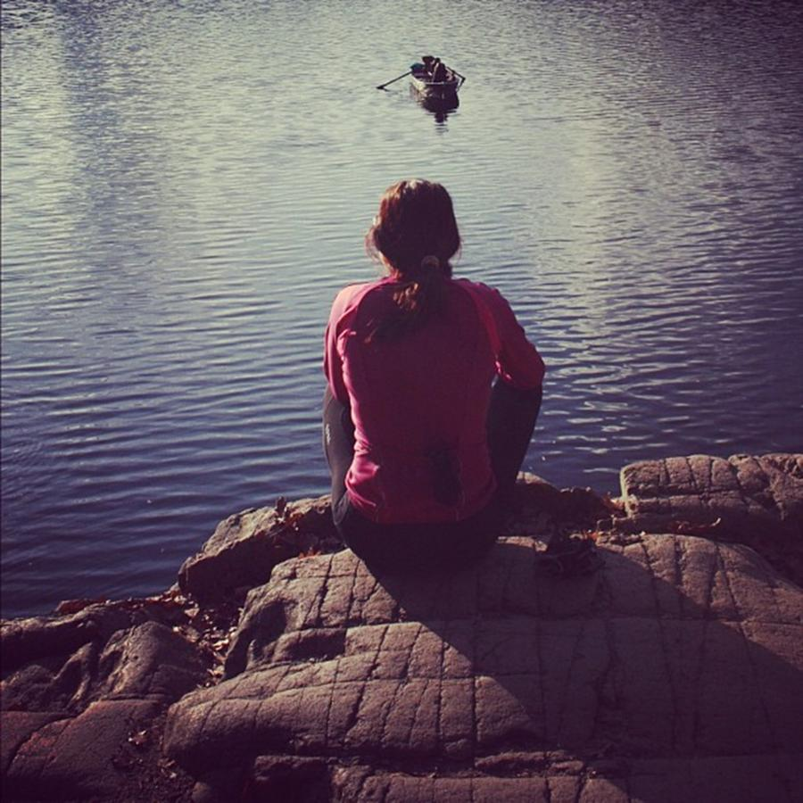 Lake Photograph - Thinking of... by Luisa Azzolini