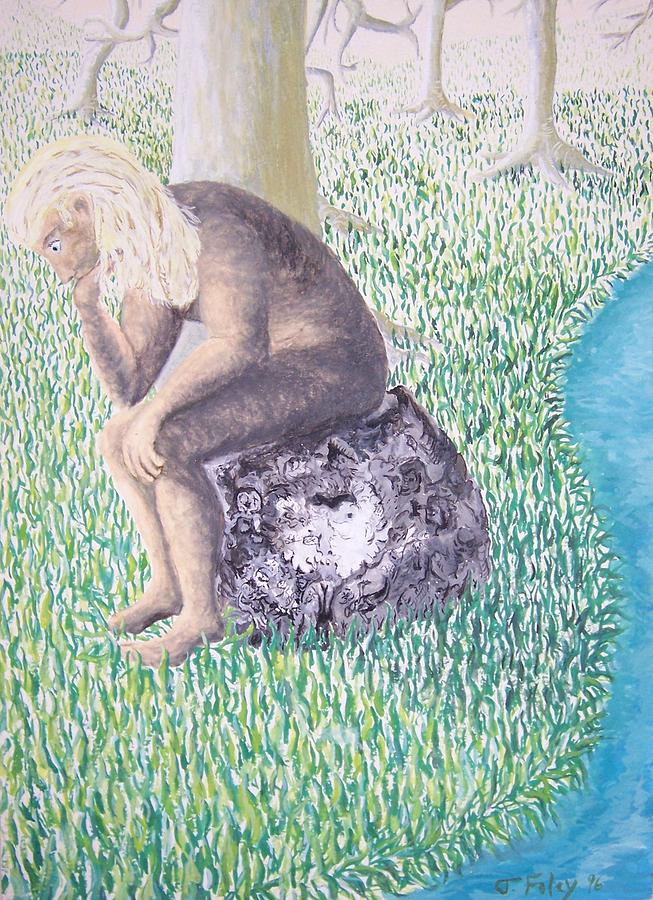 Thinker Painting - Thinking On The Rock Of Rock by Timothy  Foley