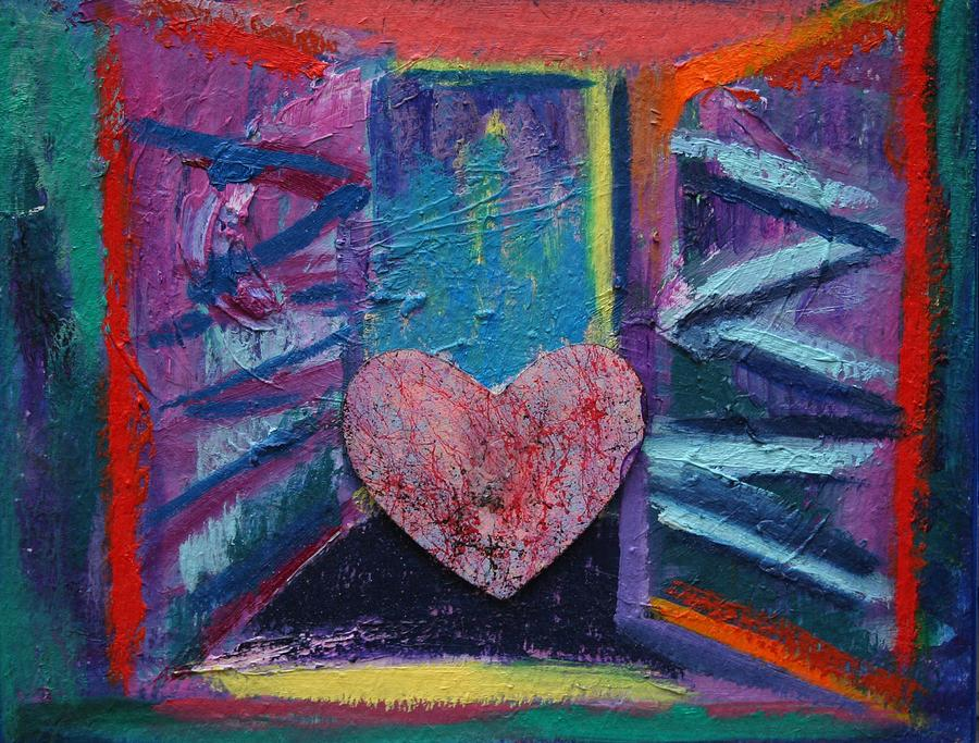 Abstract Painting - This Heart Wants Out by Karin Eisermann