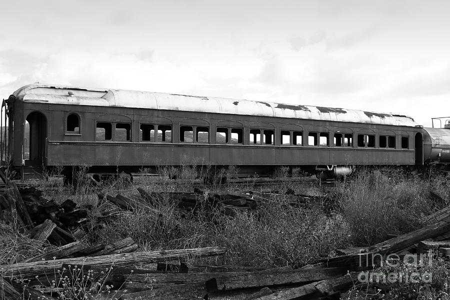 This Old Train Has Seen Better Days . Black And White