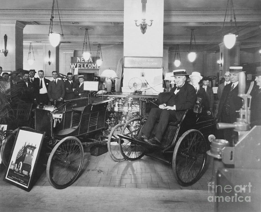 Edison Photograph - Thomas Edison In Quadricycle by Photo Researchers