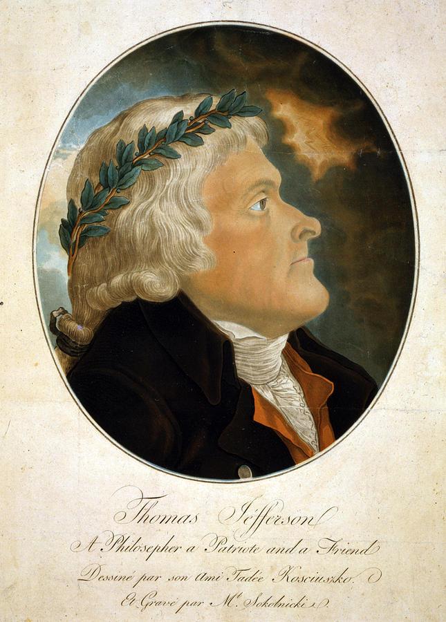1790s Photograph - Thomas Jefferson, Color Aquatint Afte by Everett