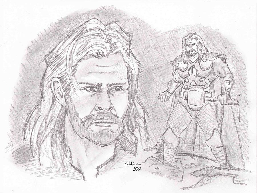 Thor Odinson- God Of Thunder Drawing by Chris  DelVecchio