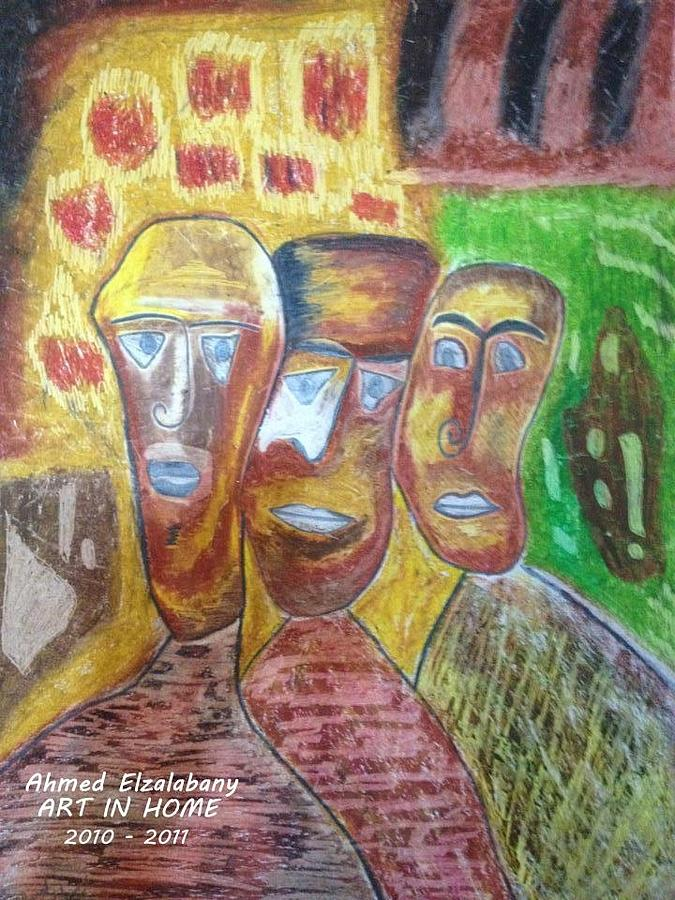 Drawn By The Artist  Ahmed Elzalabany In  ( Art In  Home Studio  ) 2009 - 2010  Pastel - Three African Masks by Ahmed  Elzalabany