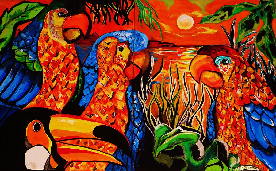 Parrots Painting - Three And One. by Michael Henzel