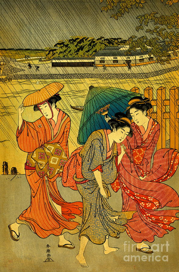Japan Photograph - Three Beauties In The Rain 1788 by Padre Art