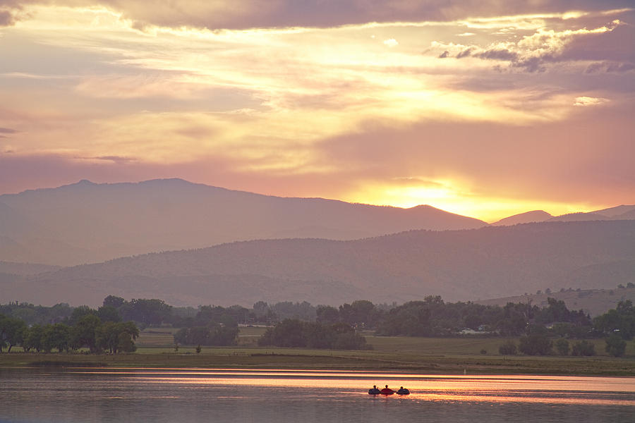 Colorado Photograph - Three Belly Boats Golden Scenic View by James BO  Insogna