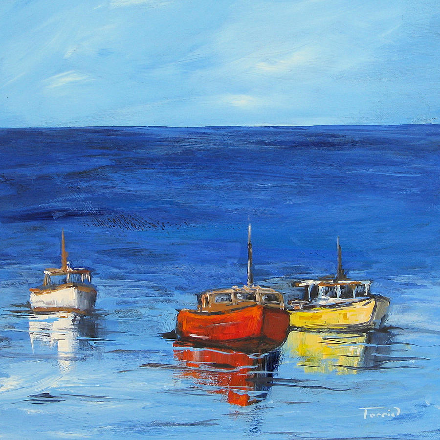 Boat Painting - Three Boats by Torrie Smiley