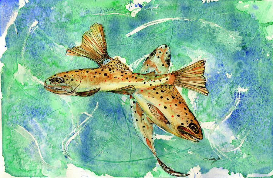 Brown Trout Painting - Three Browns In Balance by Linda Palmer