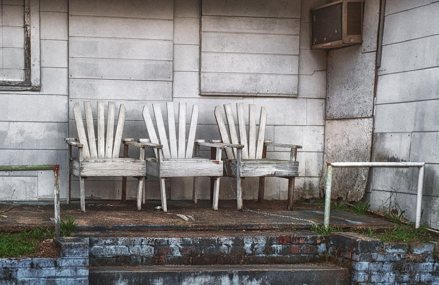 Chairs Photograph - Three Chairs Beyond Front Street by Brenda Bryant