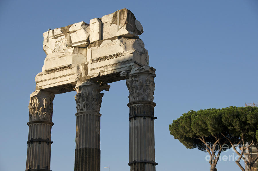 Outstanding Photograph - Three Columns And Architrave Temple Of Castor And Pollux Forum Romanum Rome by Bernard Jaubert