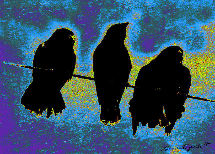 Crows Mixed Media - Three Crows by YoMamaBird Rhonda