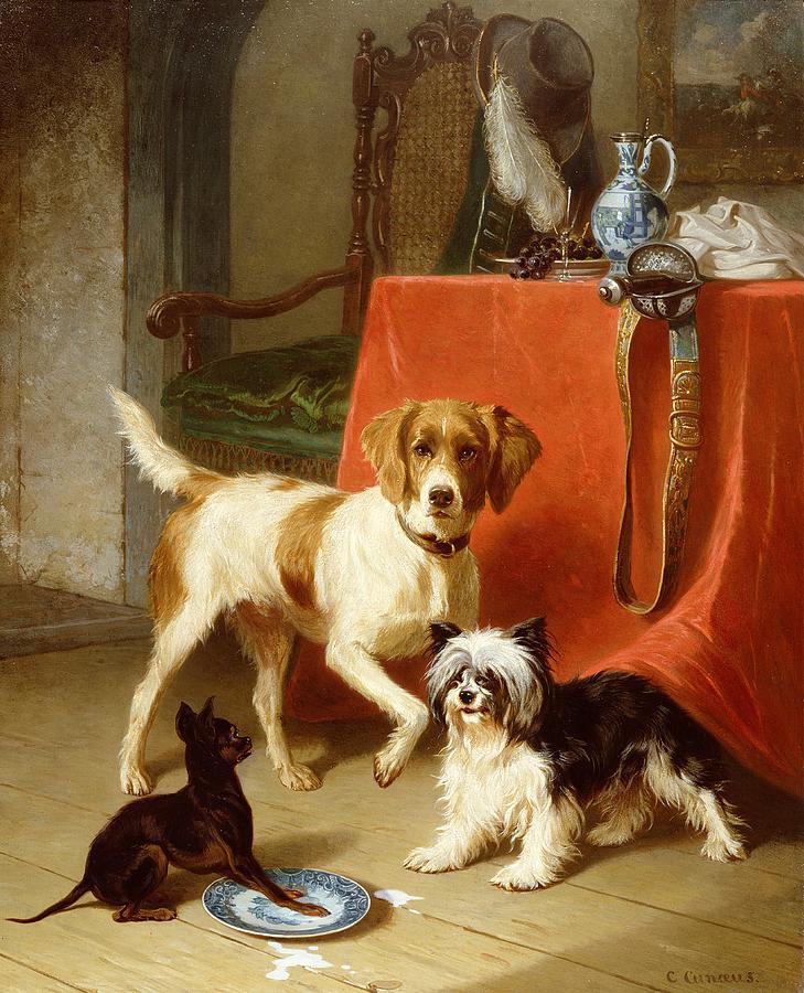 Spilt Milk Painting - Three Dogs by Conradyn Cunaeus