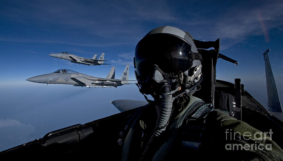 Color Image Photograph - Three F-15 Eagles Fly High by HIGH-G Productions