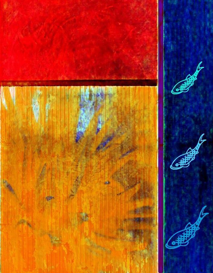 Abstract Digital Art - Three fish by Joseph Ferguson