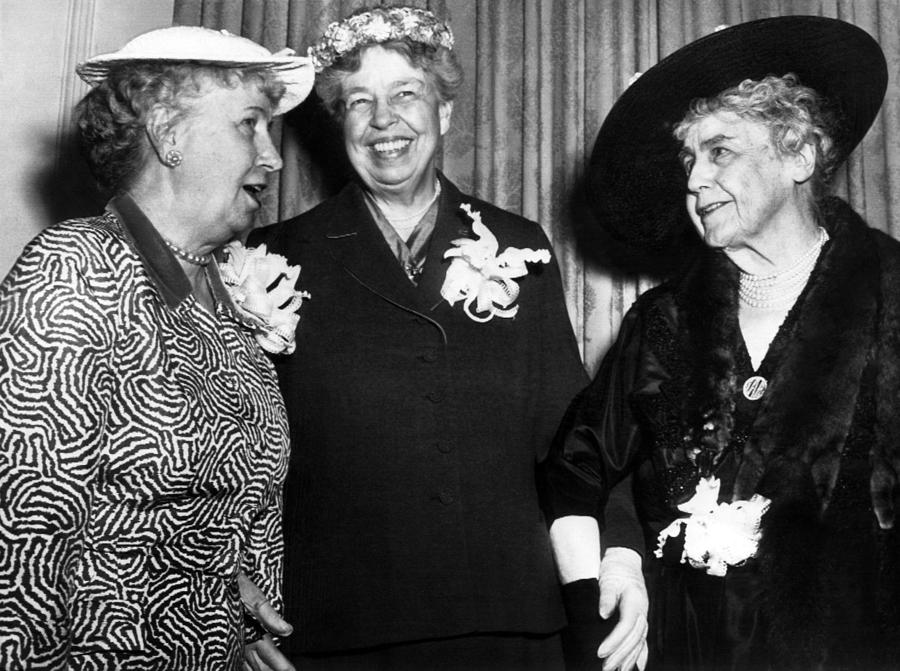 1950s Photograph - Three Former First Ladies, L-r Bess by Everett
