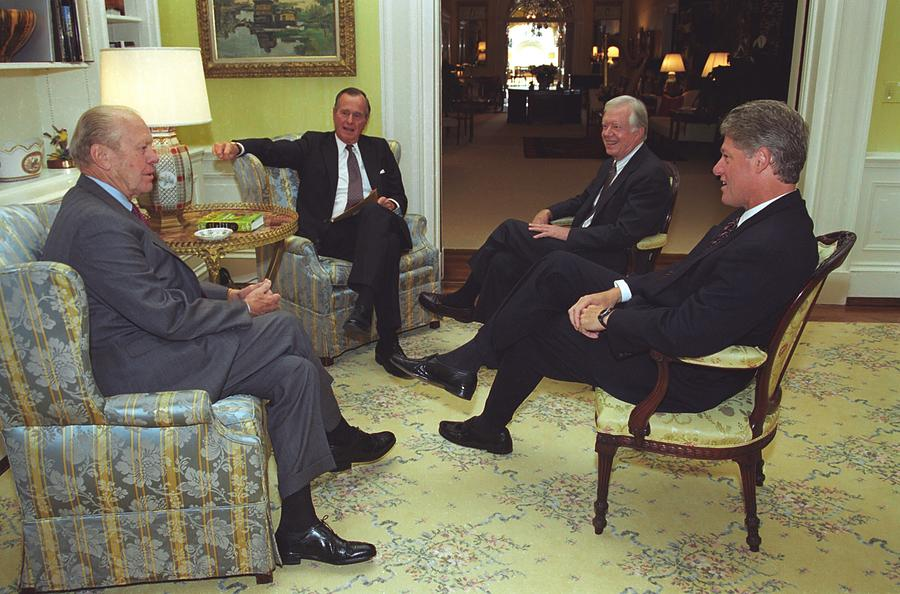 History Photograph - Three Former Presidents Gerald Ford by Everett