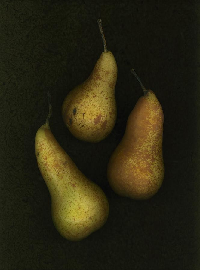 Arranged Photograph - Three Golden Pears by Deddeda