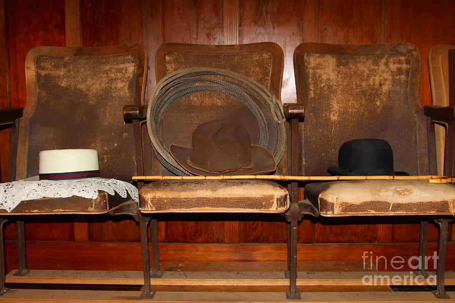 Niles Essanay Silent Film Museum Photograph - Three Hats A Lasso And A Cane At The Old Movie Theater . 7d12726 by Wingsdomain Art and Photography