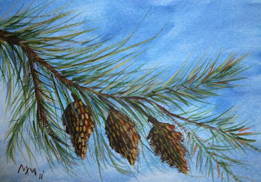 Pine Cone Painting - Three In A Row by Misty Mueller