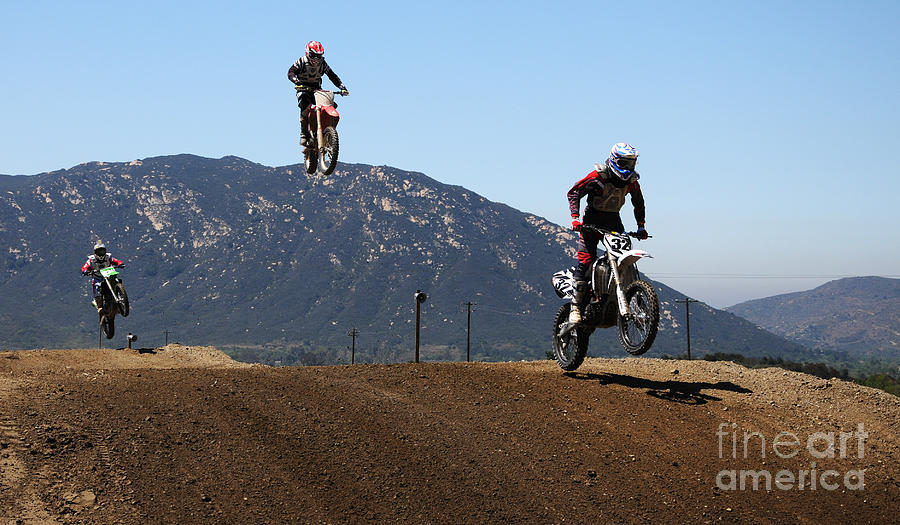 Motocross Photograph - Three In The Air by Vivian Christopher
