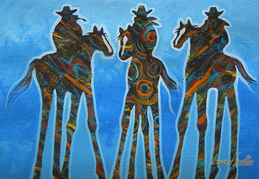 Contemporary Painting - Three In The Blue by Lance Headlee