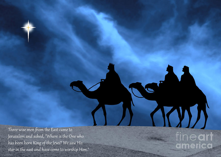Three Kings Photograph - Three Kings Travel By The Star Of Bethlehem - Midnight With Caption by Gary Avey