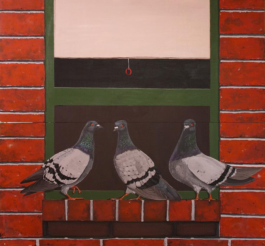 Pigeons Painting - Three Ladies       Diptych by Jennifer Lynch