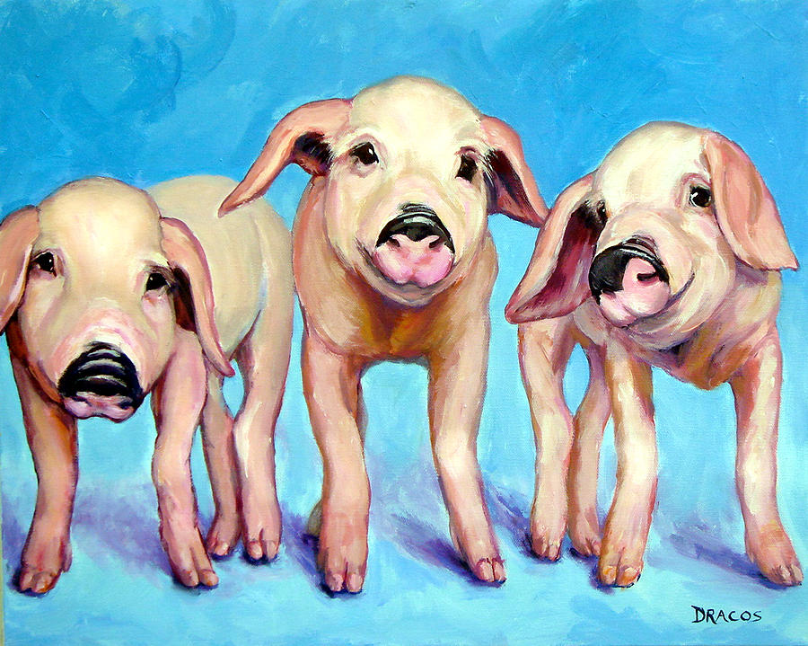 Pigs Painting - Three Little Piggies by Dottie Dracos