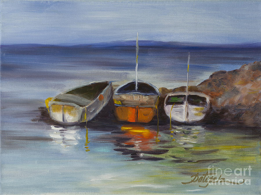 Boats Docked Paintings Painting - Three Lonely Boats by Pati Pelz