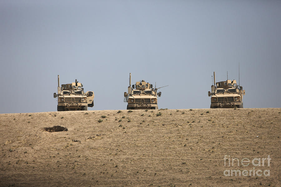 Machine Guns Photograph - Three M-atvs Guard The Top Of The Wadi by Terry Moore