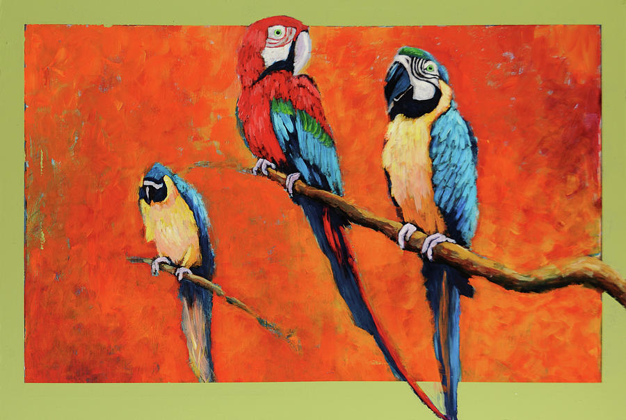 Captive Birds And Abstracted Rain Forest   by Charles Munn