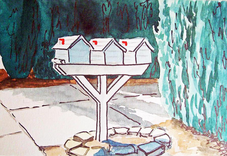 Mailbox Painting - Three Mailboxes Sketchbook Project Down My Street by Irina Sztukowski