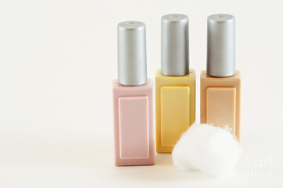 Cotton Photograph - Three Makeup Bottles by Blink Images