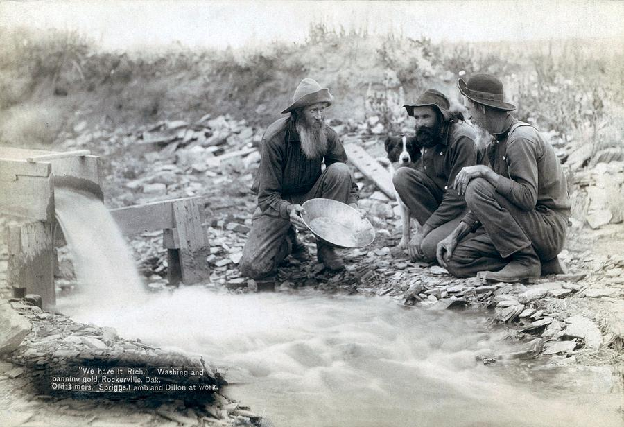 History Photograph - Three Men, With Dog, Panning For Gold by Everett