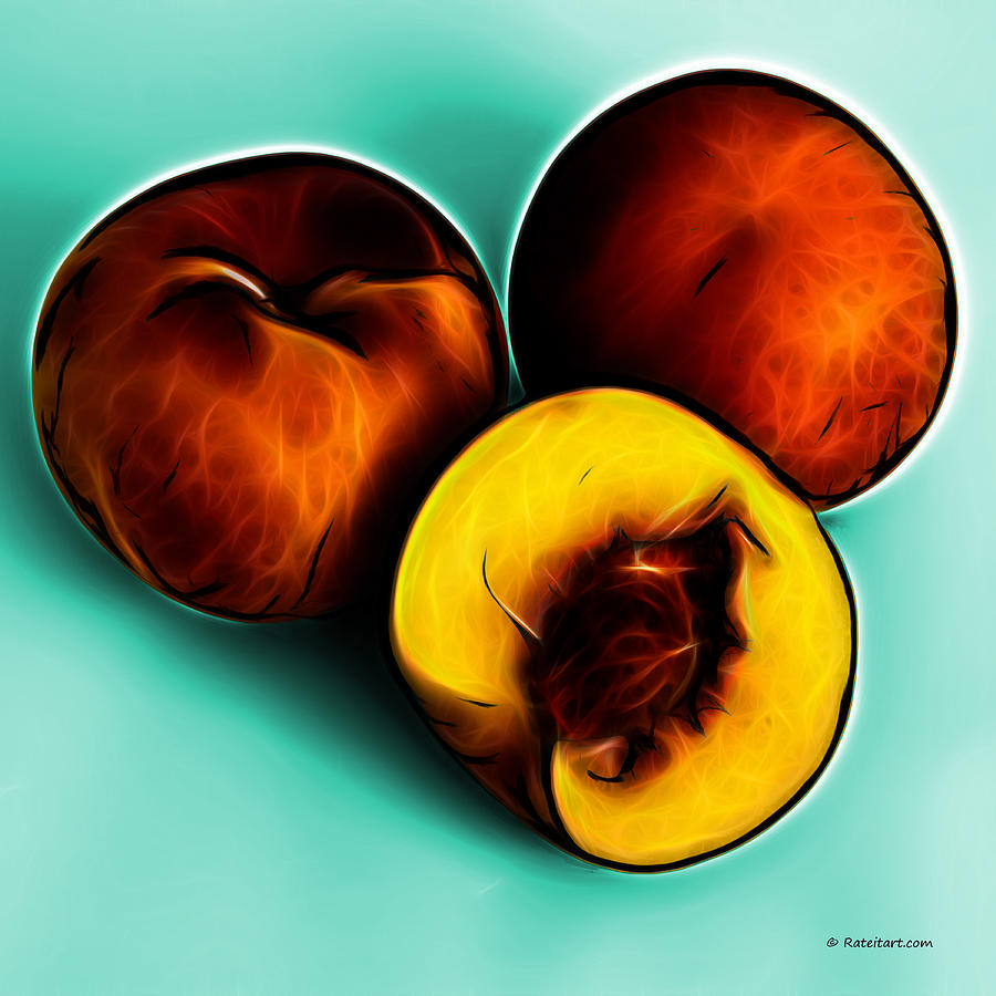 Wall Decor Digital Art - Three Peaches - Cyan by James Ahn