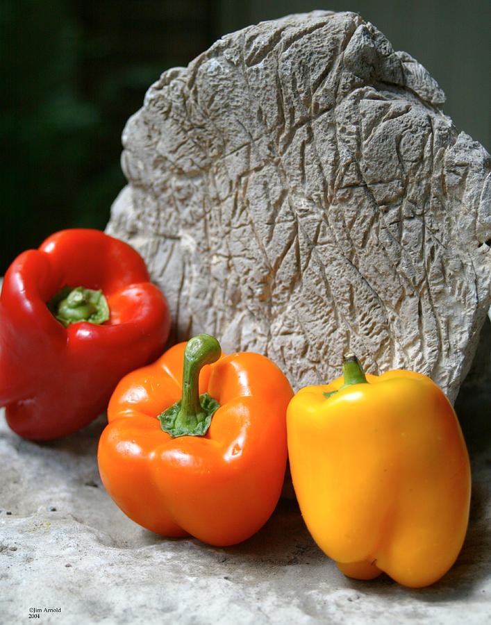 Still Life Photograph - Three Peppers by Jim  Arnold